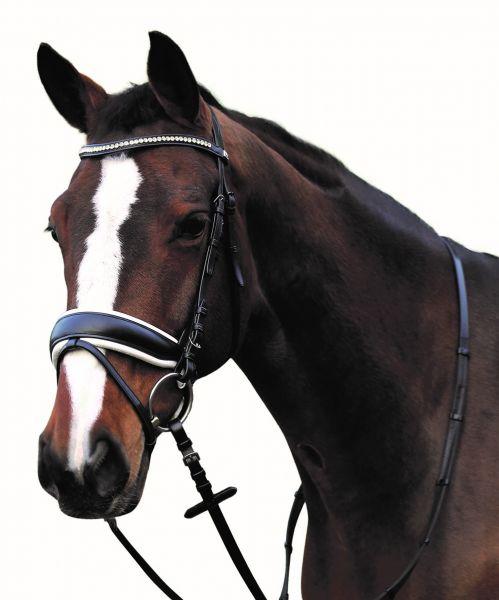 Ergonomische Trense weiß unterlegt von Horse Guard