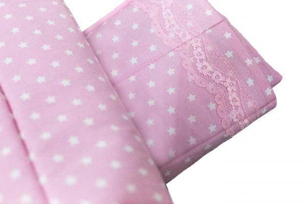 Handgefertigte Bandagierunterlagen rosa mit Sternenmotiv und Zierleiste