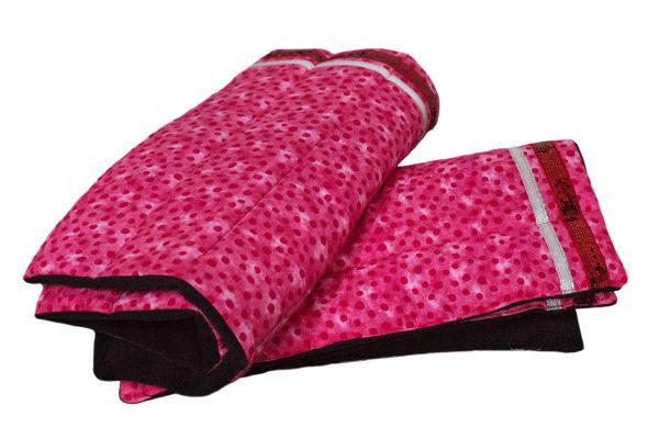 Handgefertigte Bandagierunterlagen pink mit silberner Leiste und roter Paillettenleiste
