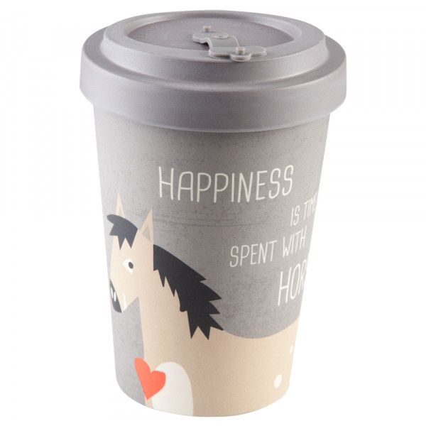 "To Go Becher ""Happiness & Horses"" Bambus"